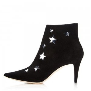 Black Suede Boots Silver Stars Stiletto Heel Ankle Boots