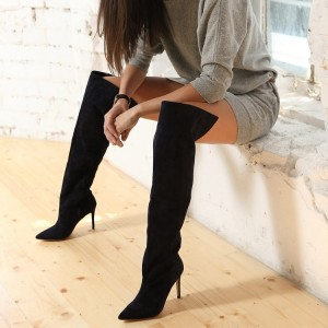 Black Suede Boots Stiletto Heel Over the Knee Boots