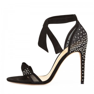Black Suede Bow Rhinestones Stiletto Heel Ankle Strap Sandals