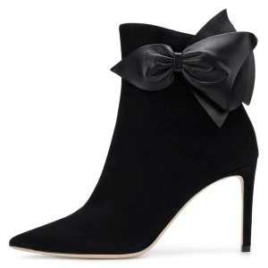 Black Suede Bow Stiletto Heel Ankle Booties