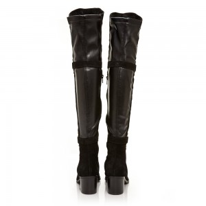 Black Suede Buckle Long Boots Round Toe Flat Over-the-Knee Boots