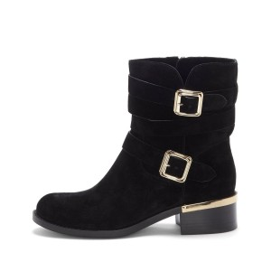Black Suede Buckles Chunky Heel Boots Ankle Boots