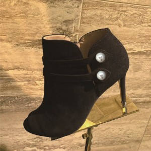 Black Suede Buckles Peep Toe Stiletto Boots