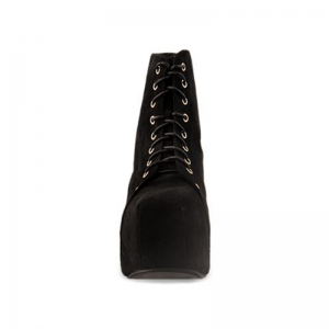 Black Suede Chunky Heel Boots Lace up Platform Ankle Booties