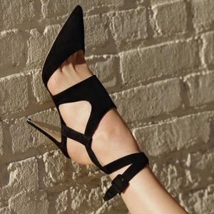 Black Suede Cut out Sexy Heels Stiletto Heel Sandals with Buckle