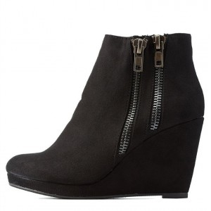 Black Suede Double Zips Platform Wedge Booties