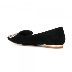 Black Suede Embroidery Butterfly Comfortable Flats