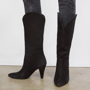 Black Suede Fashion Boots Cone Heels Mid Calf Boots
