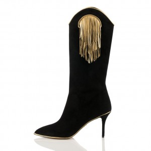 Black Suede Gold Fringe Fashion Boots Mid Calf Boots