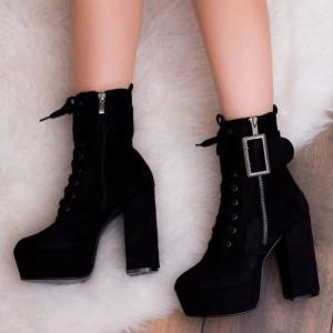 Black Suede Lace Up Boots Platform Chunky Heel Ankle Boots