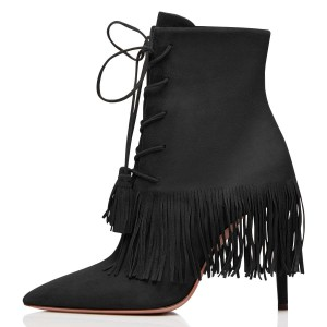 Black Suede Lace Up Fringe Boots Stiletto Heel Ankle Boots