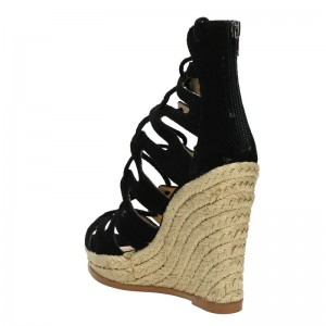 Women's Black Strappy Lace-up Hollow Out Wedge Heels Sandals