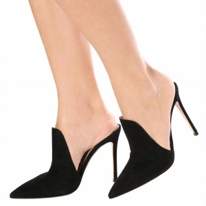 Black Suede Loafers for Women Pointy Toe Stiletto Heels Mules