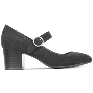 Black Suede Mary Jane Pumps Round Toe Block Heels Office Shoes