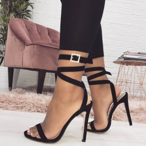 Black Suede Open Toe Buckle Strappy Sandals Stiletto Heel Sexy Shoes