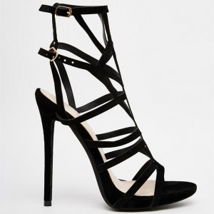 Women's Black Stiletto Heels Caged Sandals