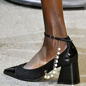 Black Suede Patent Leather Pearl Ankle Strap Block Heels Pumps