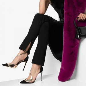Black Suede Pointy Toe Ankle Strap Heels Clear Stiletto Heel Pumps