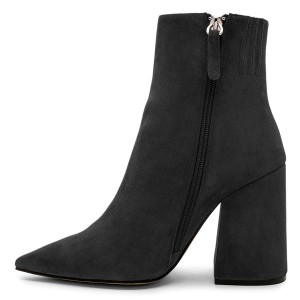Black Suede Pointy Toe Block Heel Ankle Booties