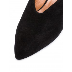 Black Suede Pointy Toe Cone Heel Mule Office Pump