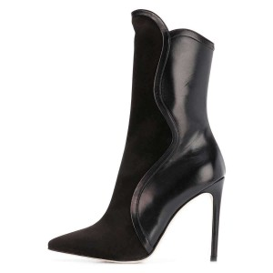 Black Suede Pointy Toe Stiletto Heel Ankle Booties