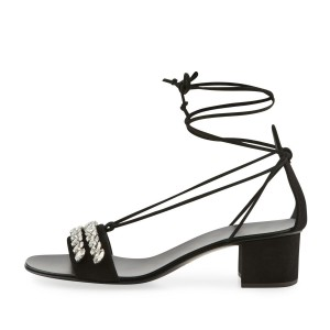Black Suede Rhinestone Block Heel Strappy Sandals