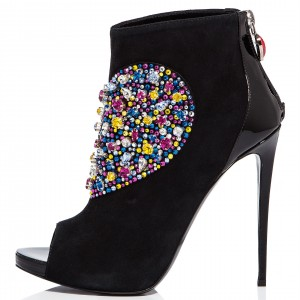 Black Suede Rhinestone Peep Toe Booties Stiletto Heel Ankle Boots