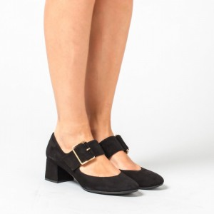 Black Suede Round Toe Mary Jane Shoes Block Heels Pumps