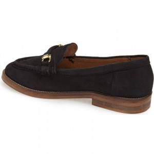 Black Suede Shoes Round Toe Loafers for Women
