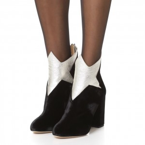Black Suede Silver Block Heel Ankle Booties