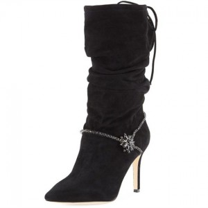 Black Suede Slouch Boots Rhinestone Pointy Toe Stiletto Mid Calf Boots