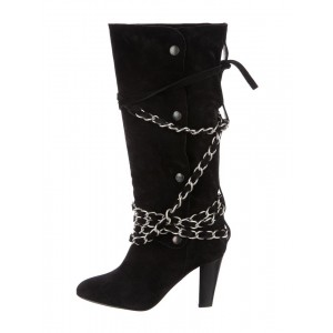 Black Suede Slouch Boots Strappy Chains Chunky Heel Mid Calf Boots
