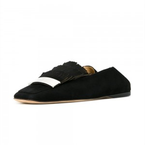 Black Suede Square Toe Flats Fringe Loafers for Women