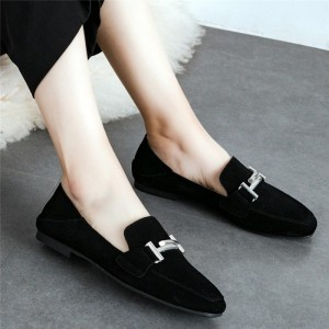 Black Suede Square Toe Vintage Flat Loafers for Women US Size 3-15