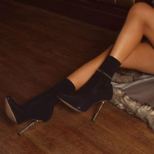 Black Suede Stiletto Boots Pointed Toe Ankle Boots