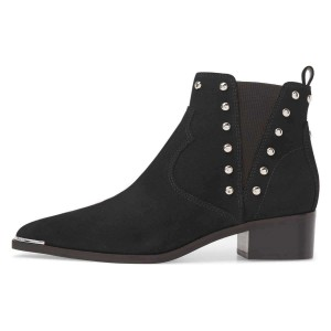 Black Suede Studs Chelsea Boots Chunky Heel Ankle Booties