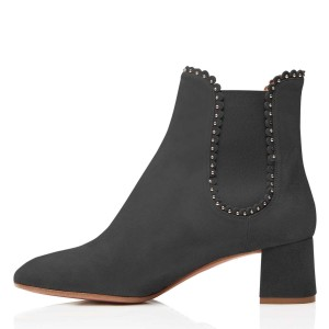 Black Suede Studs Chelsea Boots Chunky Heel Ankle Boots