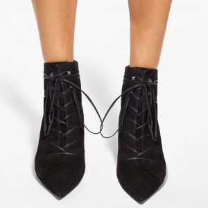 Black Suede Studs Lace Up Boots Low Heel Ankle Boots