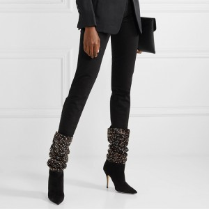 Black Suede Studs Slouch Boots Stiletto Heel Mid Calf Boots