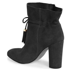Black Suede Tassel Chunky Heel boots Ankle Boots