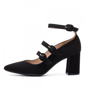 Black Suede Mary Jane Shoes Buckles Block Heels Pumps