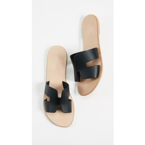 Black Summer Women's Slide Sandals Open Toe Flat Slides Shoes