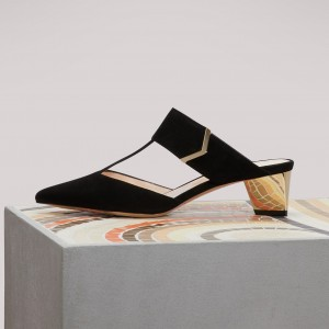 Black T strap Block Heels Sandals Pointy Toe Mules