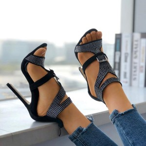 Black T Strap Rhinestone Heels Buckle Stiletto Heels Evening Sandals