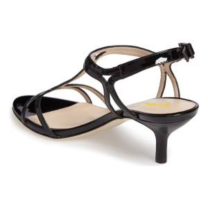 Black T Strap Sandals Open Toe Kitten Heels Sandals for Office Lady