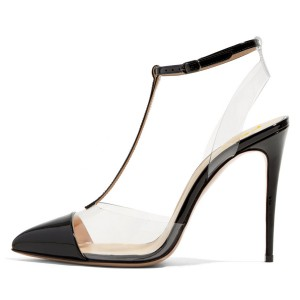 Black T Strap Sandals Patent Leather Ankle Strap Clear Sandals