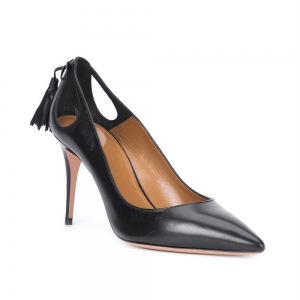 Black Tassles Stiletto Heels Pointy Toe Office Shoes for Women