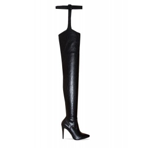 Black Textured Vegan Leather Pointy Toe Buckle Thigh High Heel Boots
