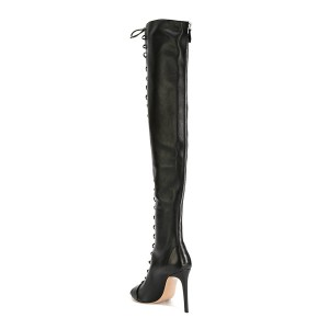 Black Thigh High Lace up Boots Vintage Peep Toe Stiletto Boots
