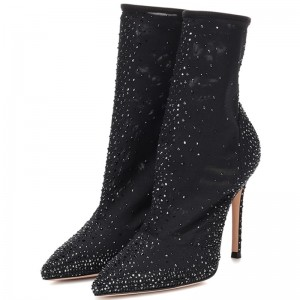 Black Tight Fashion Boots Studs Stiletto Heel Ankle Boots